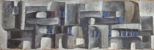 tempera na papíře, 169x59 cm, konec 50. let
