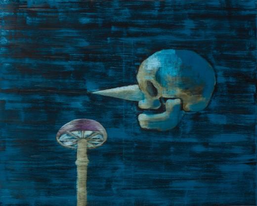 Mrkvonos a houba, 2021, olej, plátno, 16.800,-Kč